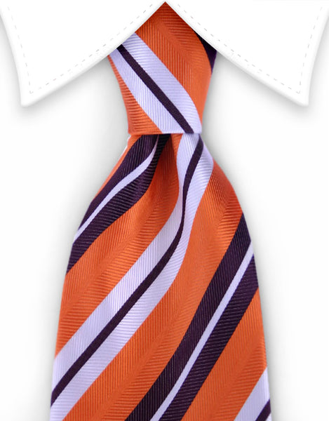 Orange, burgundy & white striped tie
