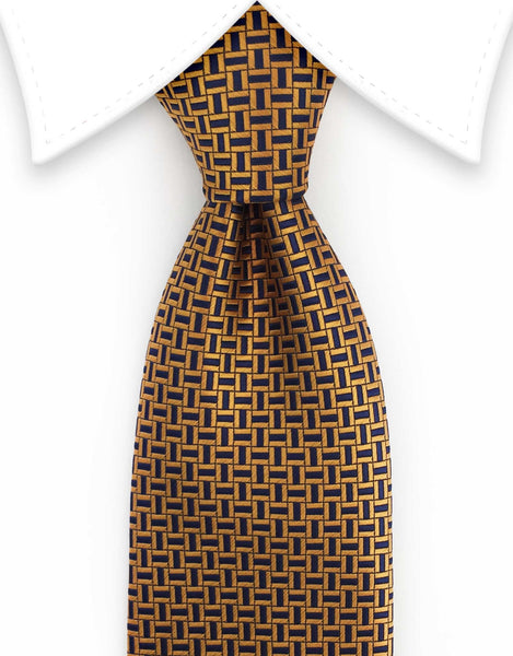 copper orange & navy blue necktie