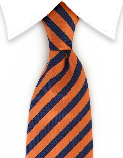 Orange and dark blue striped silk tie