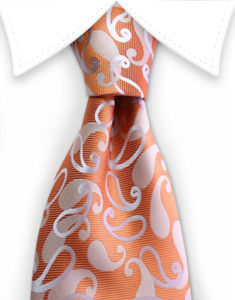 orange white paisley tie