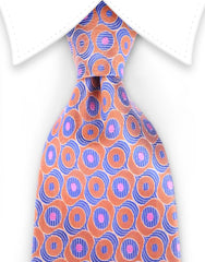 orange pink and blue silk tie