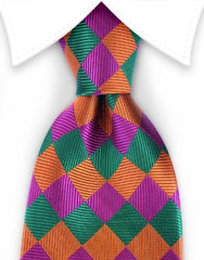 orange, pink, green diamond harlequin silk tie