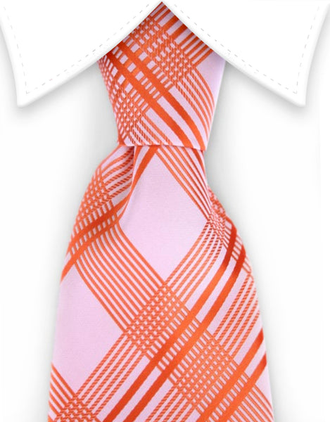 Orange plaid tie