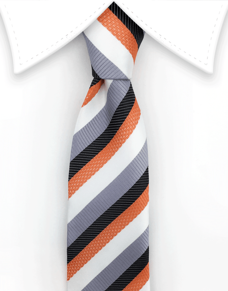 Orange Black White Silver Skinny Necktie