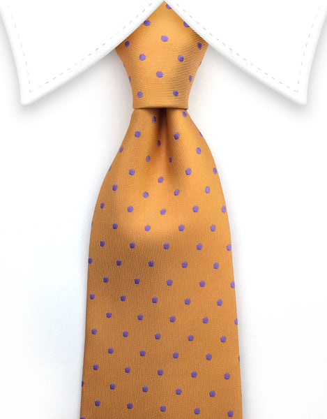 orange tie with purple polka dots