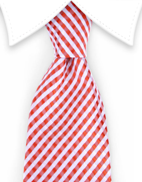 Orange and white gingham tie