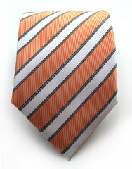 Orange White Striped Necktie