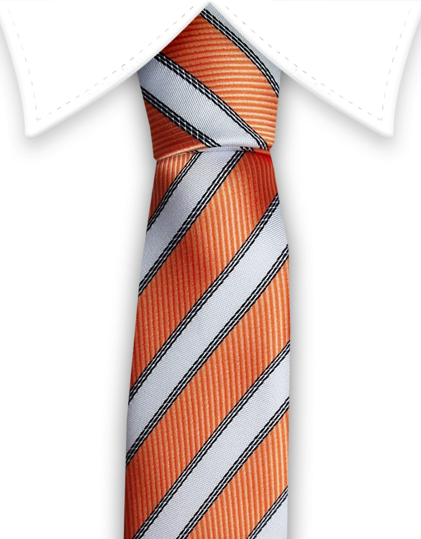 Orange & white striped narrow tie