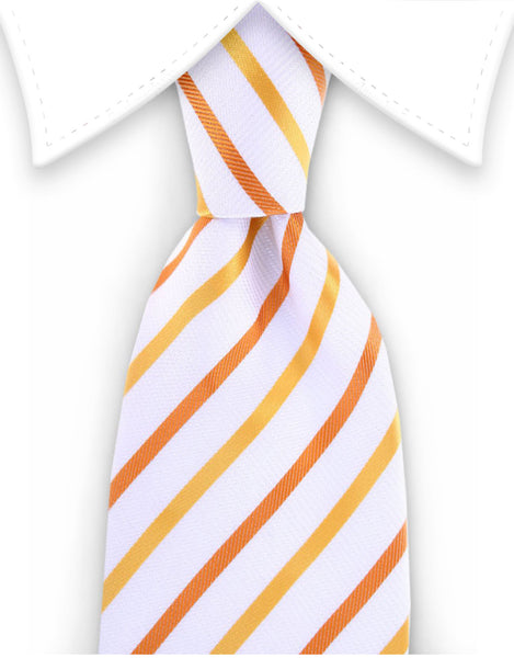 white orange stripe extra long tie