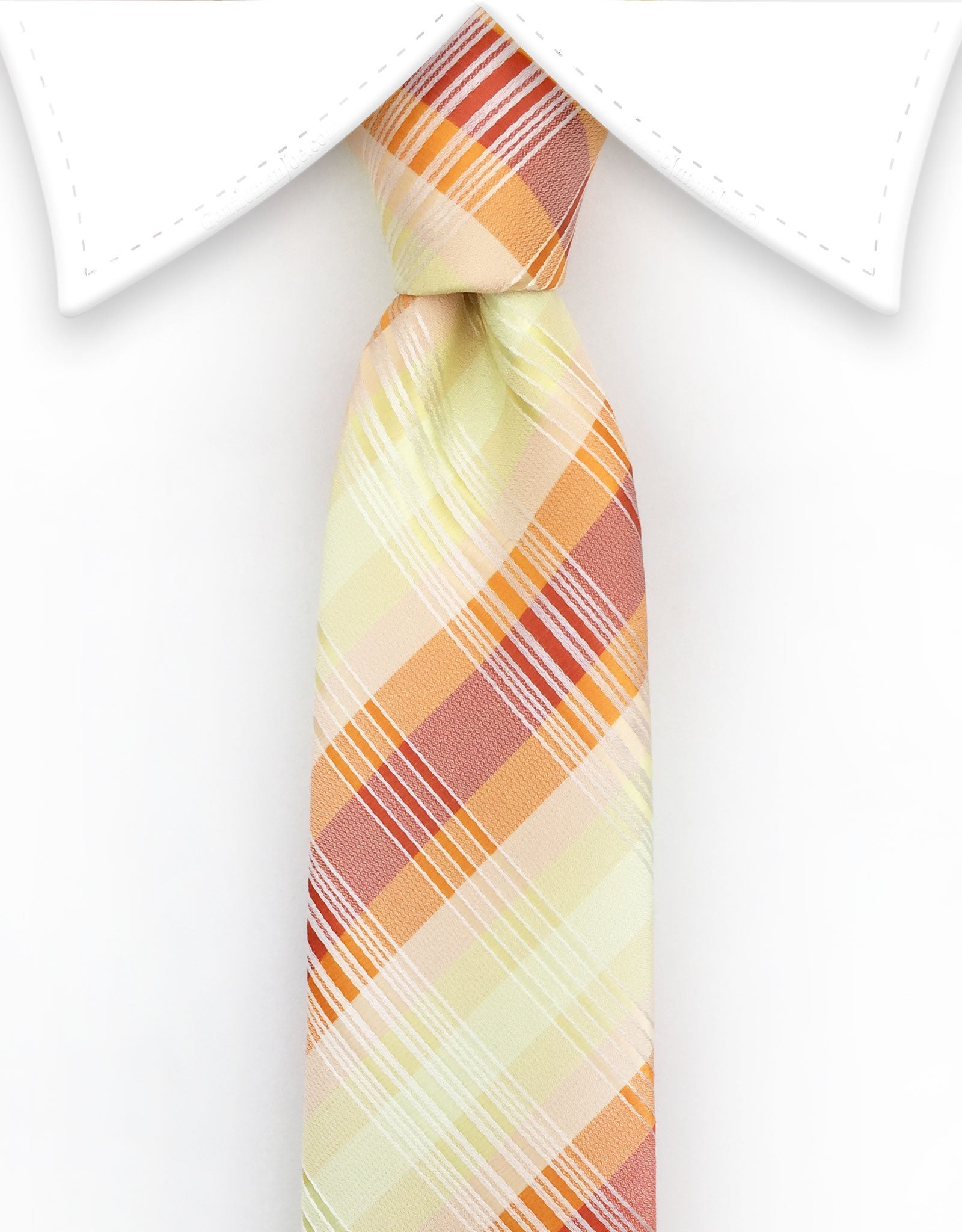 Yellow & Orange Plaid Skinny Tie