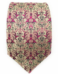 Gold and pink floral tie