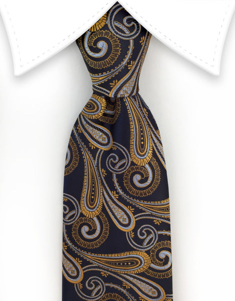 Navy blue tie with gold & silver paisley