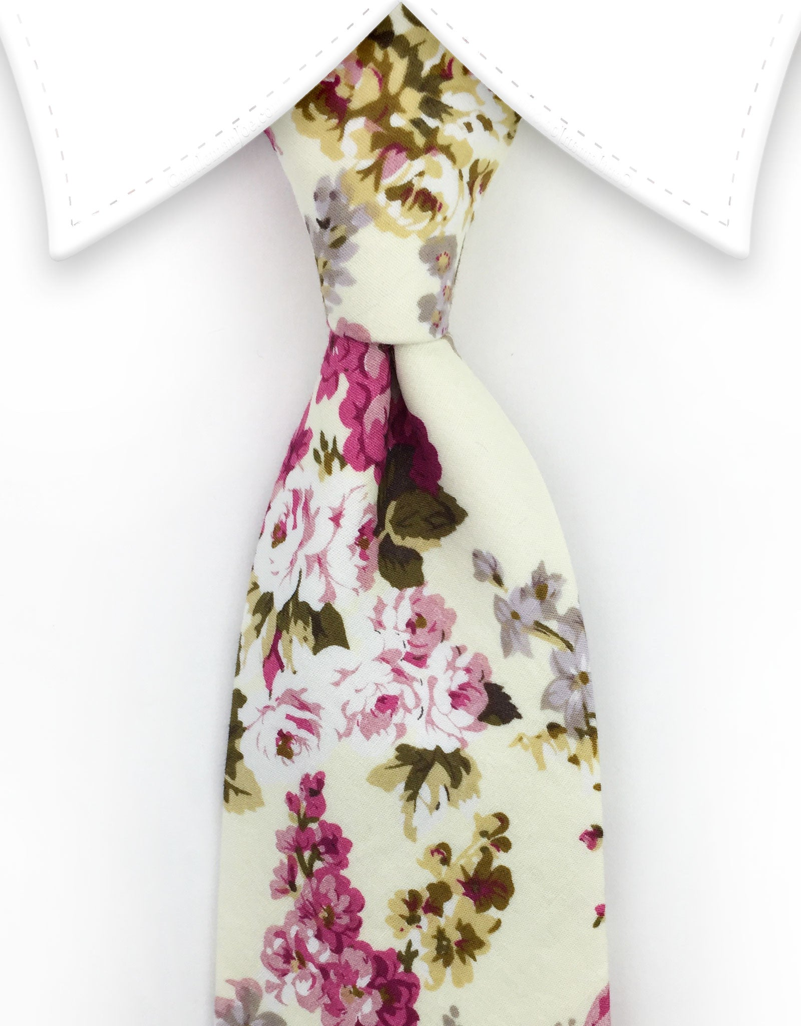 pale yellow and pink floral tie