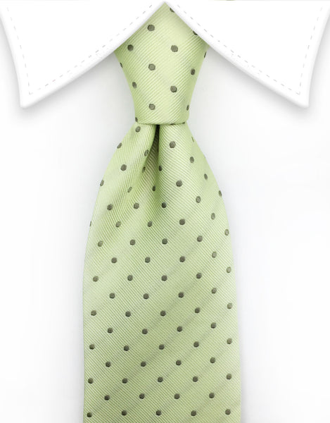 Light Green Tie with Dots