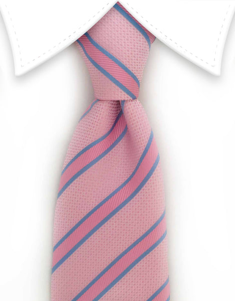 Pastel pink and blue striped necktie