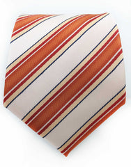 Blush peach and orange striped mens tie