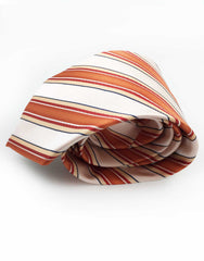 Orange coral and light peach striped necktie