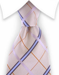 Vanilla and blue plaid tie