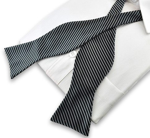 black and silver self-tie bowtie