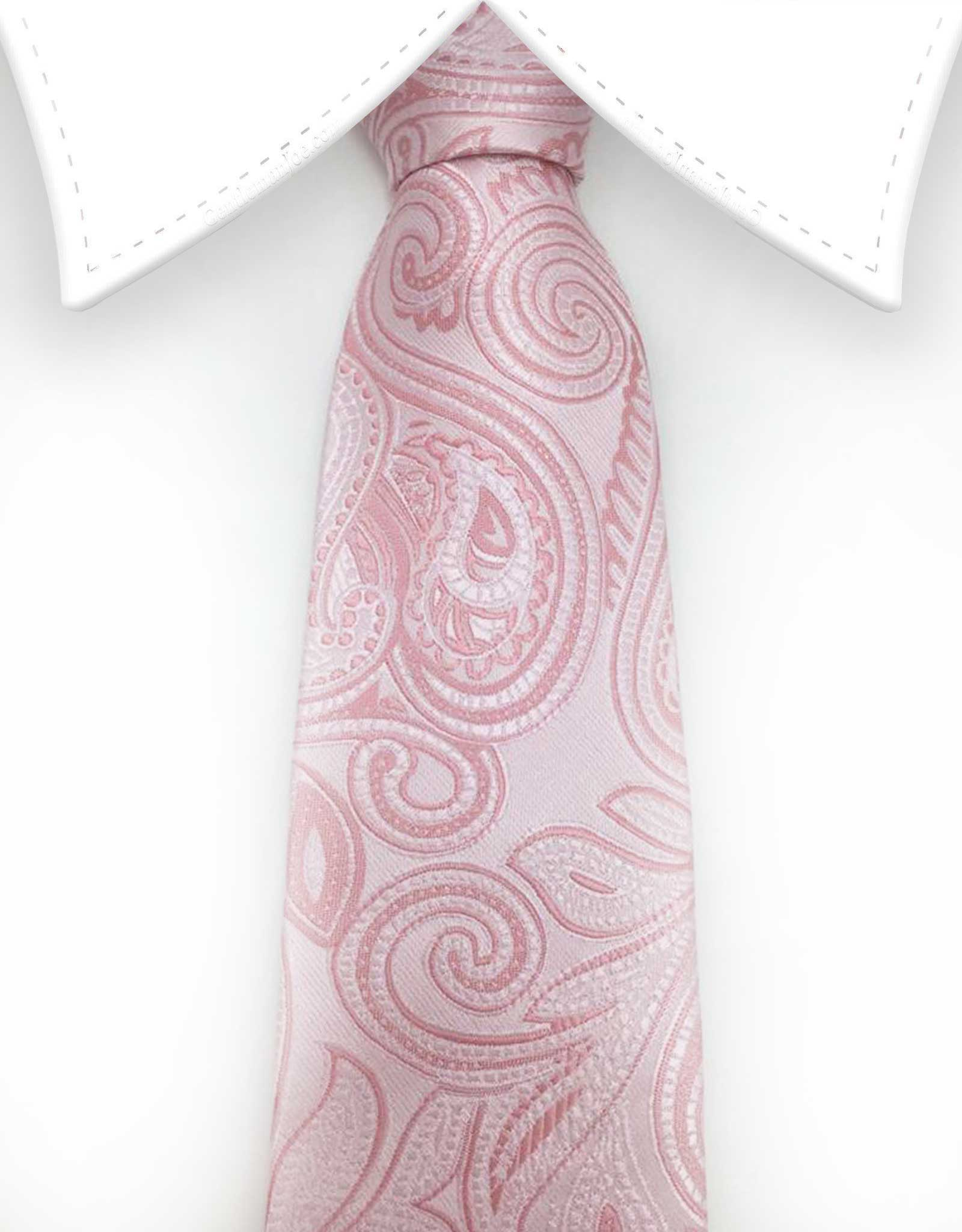 light pink paisley skinny tie