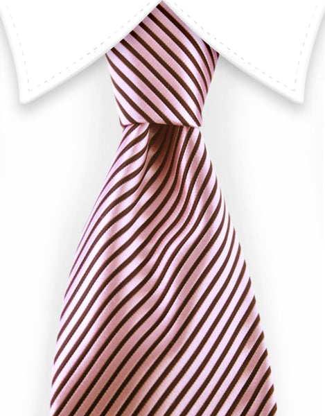 Blush Pink and black striped extra long tie