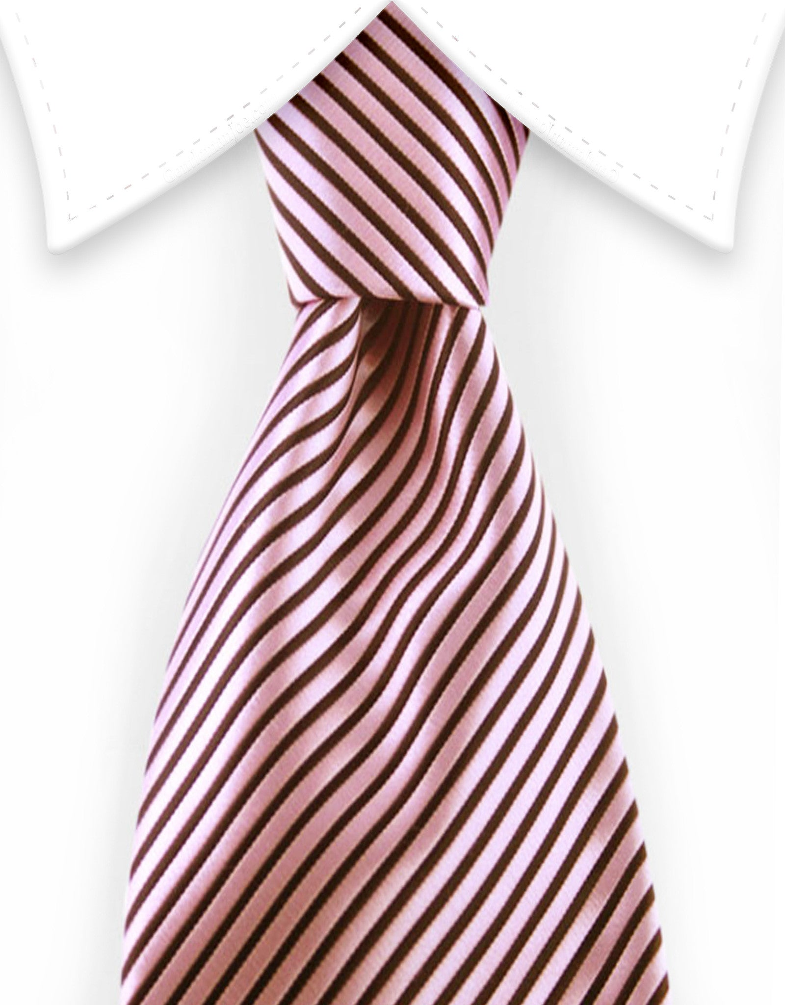 pink and black pinstriped tie