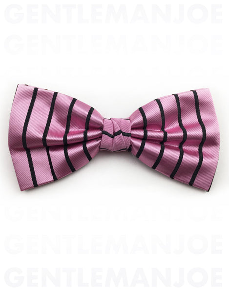 pink bow tie with black stripes