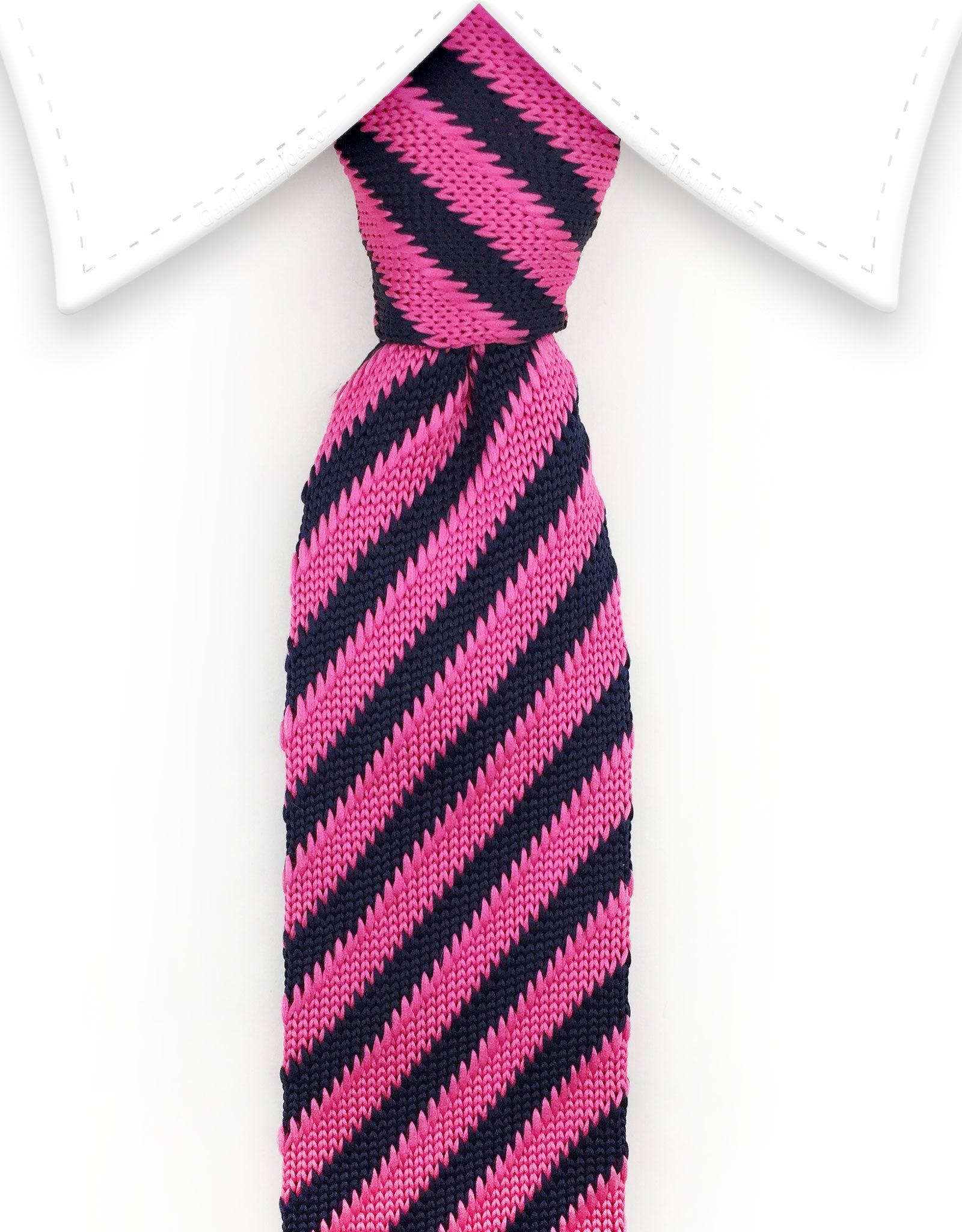 pink and black striped knitted necktie
