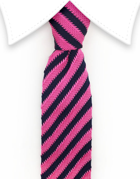 pink and navy striped knitted necktie