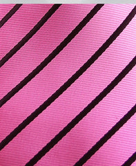 Pink Skinny Tie with Black Stripes