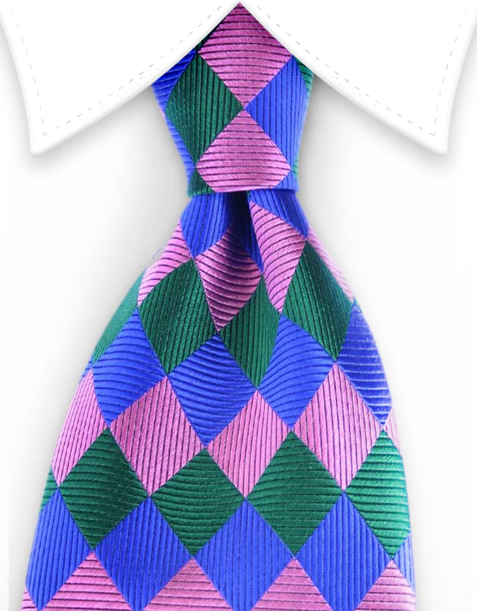 Blue, Pink and Green Diamond Harlequin Silk Tie
