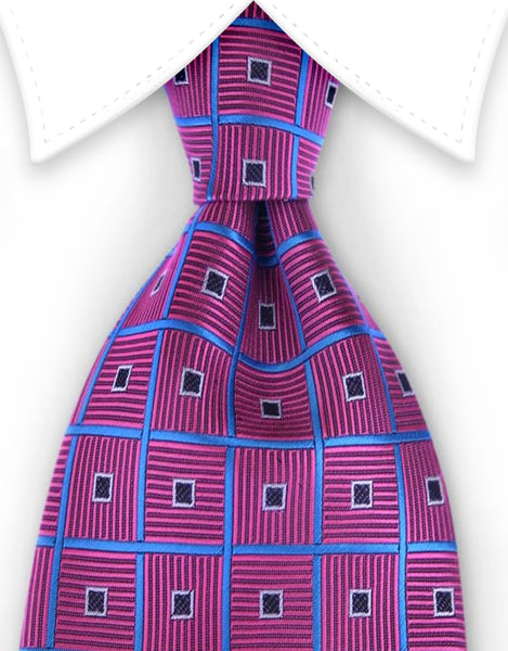 fuchsia pink tie with blue squares
