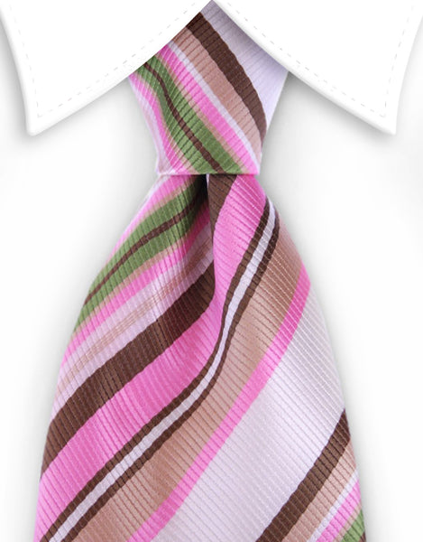 Brown, pink and green striped tie