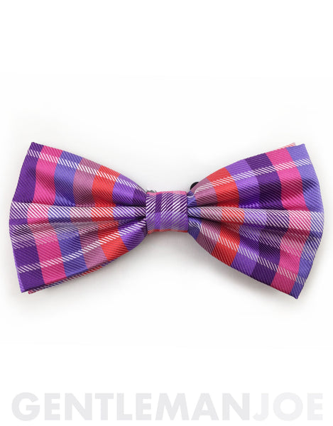purple, pink, lilac & red bow tie