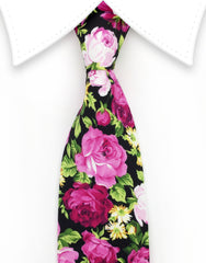 Black Necktie with pink roses
