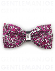 Fushcia pink crystal bow tie