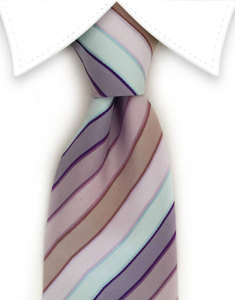pastel pink, purple, brown and seafoam necktie
