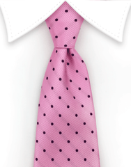 pink and black polka dot tie