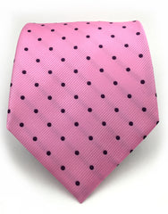 pink tie with black polka dots