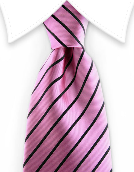 pink tie with black stripes