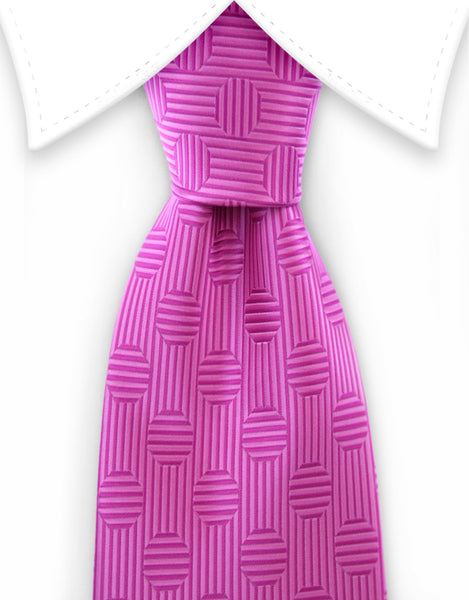 pink tie with large polka dots