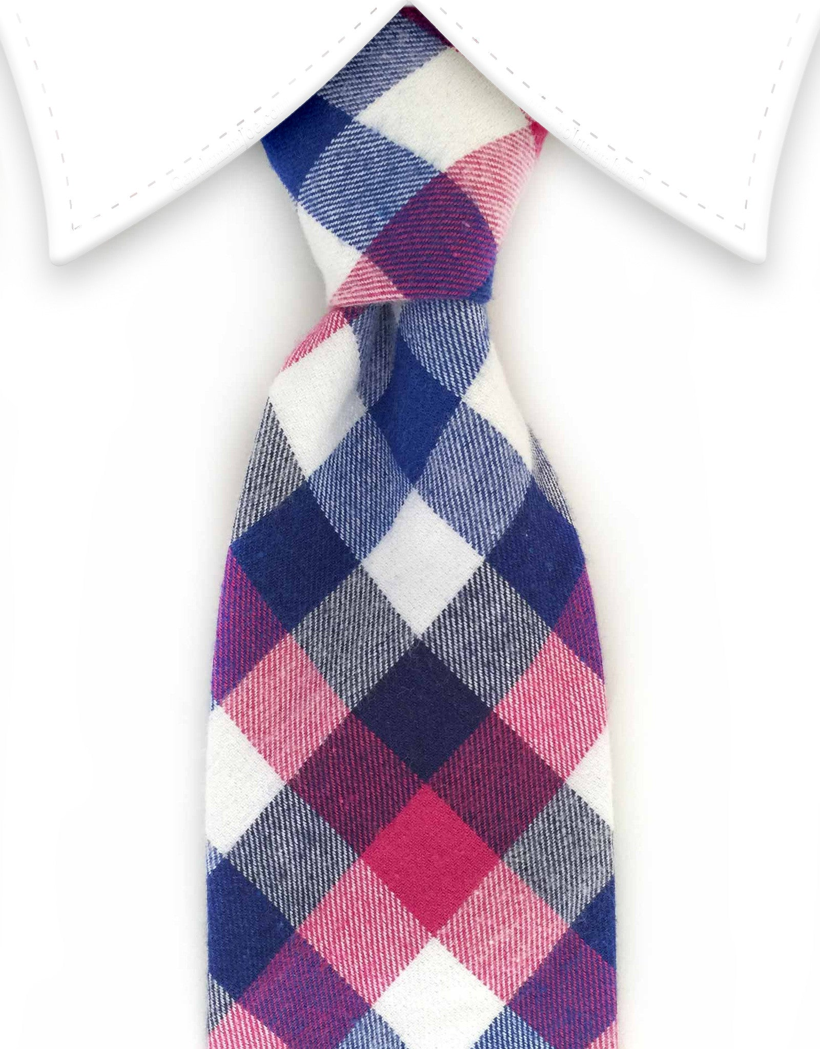 Blue white & pink cotton tie