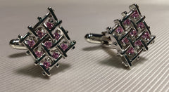 pink crystal cuff links