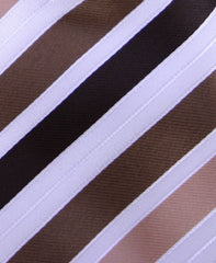 Brown & White Striped Necktie