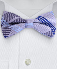 Silver & Blue Plaid Bow Tie