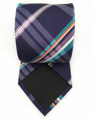 purple plaid mens tie - back view