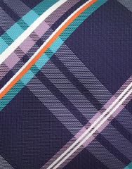 Purple, orange and teal plaid tie swatch