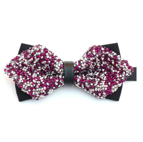 Plum Purple & Silver, Sparkley, Glitter, Party, Diamond Tip, Bow Tie