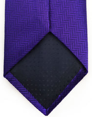 purple herringbone tie tip