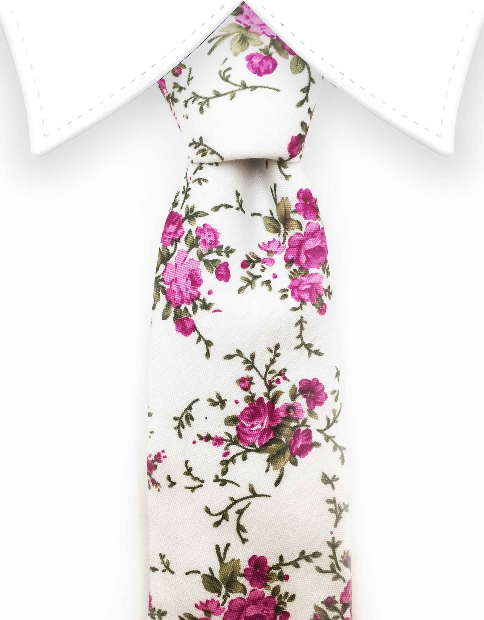 purple floral tie on white